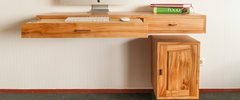 Zwevend bureau iepenhout - op maat gemaakt - in verschillende houtsoorten - massief hout - in vele varianten mogelijk - zwevende meubels - schitterend hout